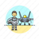 air, aircraft, airplane, army, man, military, pilot, soldier icon
