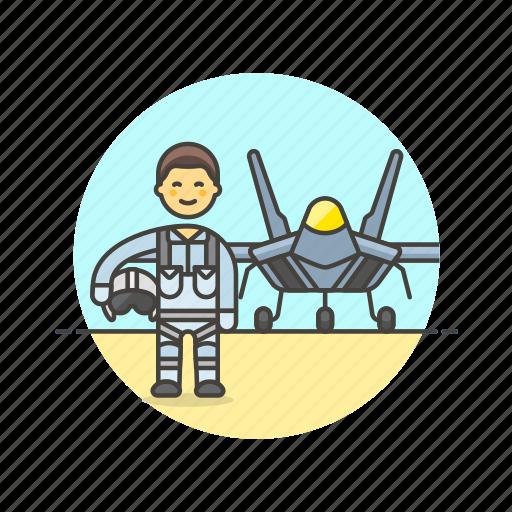 air, aircraft, airplane, army, man, military, pilot, soldier icon