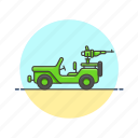 armed, army, jeep, military icon