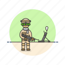 army, field, helmet, man, military, rifle, soldier, uniform icon