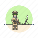army, field, gun, man, military, soldier, uniform, war icon