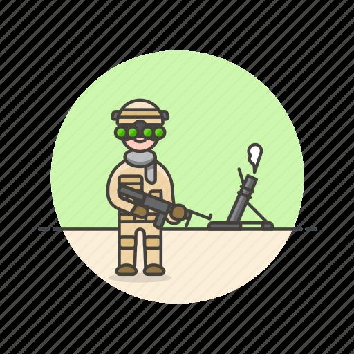 army, field, gun, man, military, soldier, uniform, war icon