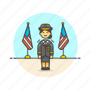 army, general, military, officer, soldier, uniform, woman icon