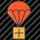 ammo, medic kit, medical, medics, parachute, paragliding icon