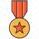 badge, gold, medal, olympic, rank, winner icon