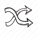 arrow, curve, direction, shuffle, way icon