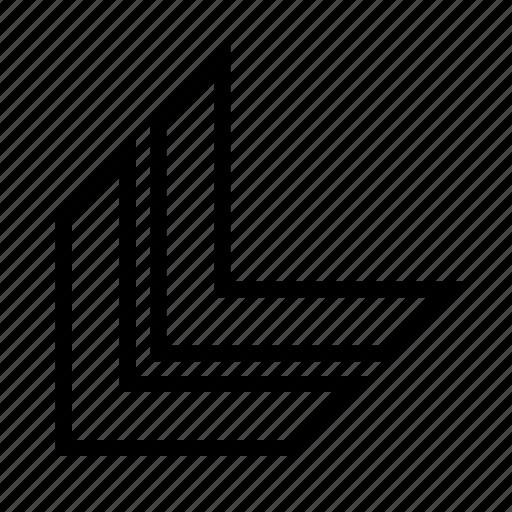 arrow, bottom, direction, left icon