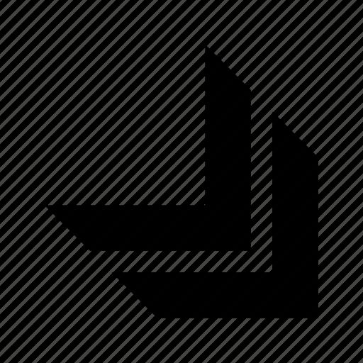 arrow, bottom, direction, right icon