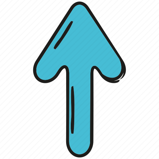 arrow, cartoon arrow, cursor, direction, doodle arrow, pointer, up icon