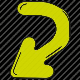 arrow, cartoon arrow, cursor, direction, doodle arrow, pointer icon
