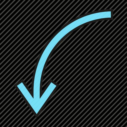 arrow, cursor, direction, down, sign icon