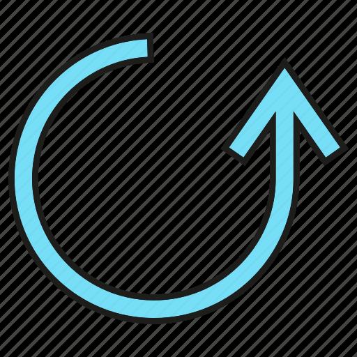 arrow, circle, cursor, direction, reload, sign icon