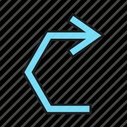 arrow, cursor, direction, right, sign icon