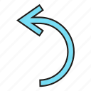 arrow, cursor, curve, direction, sign icon
