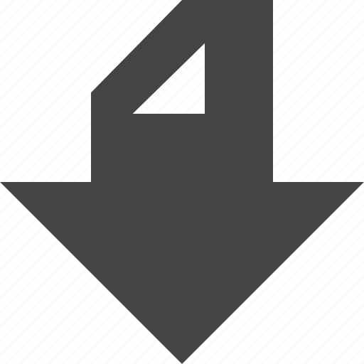 arrow, bottom, flow, path icon