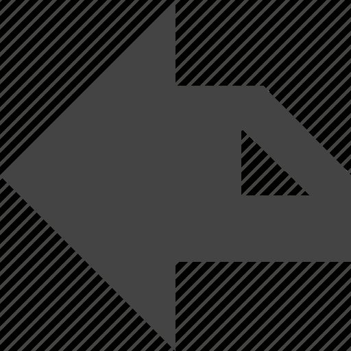 arrow, flow, left, path icon