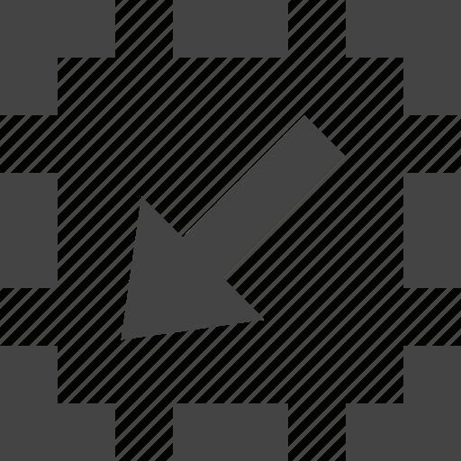 arrow, bottom, dashed, flow, left, path icon