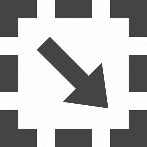 arrow, bottom, dashed, flow, path, right icon
