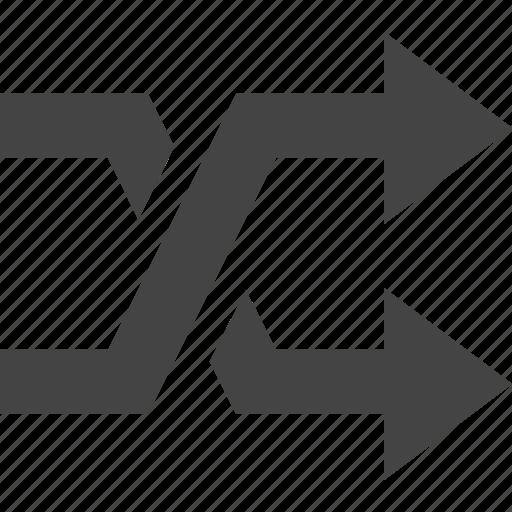 arrow, crossed, flow, path icon