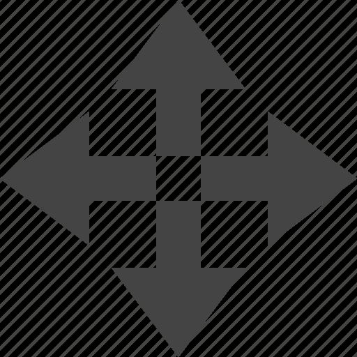 arrow, flow, four, path, way icon