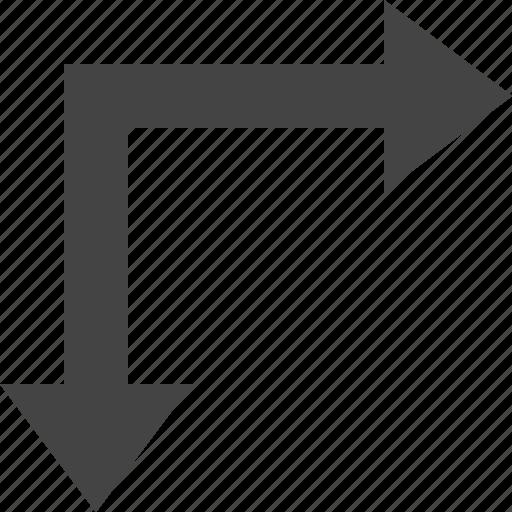 arrow, bottom, flow, path, right icon