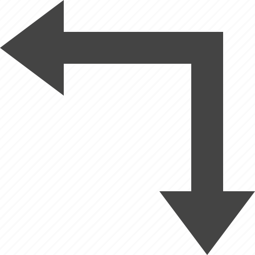 arrow, down, flow, path, rlefft icon