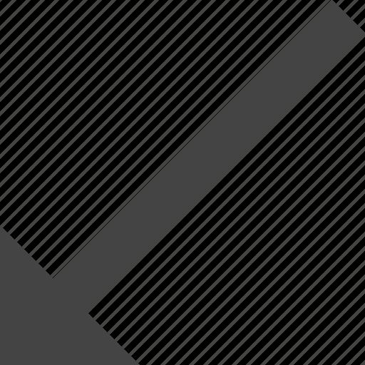 arrow, bottom, flow, left, path, to icon