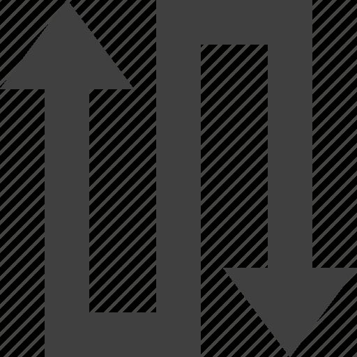 arrow, flow, path, s, shape, tow, way icon
