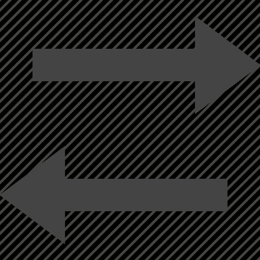 arrow, flow, horizontal, parallel, path, two, way icon