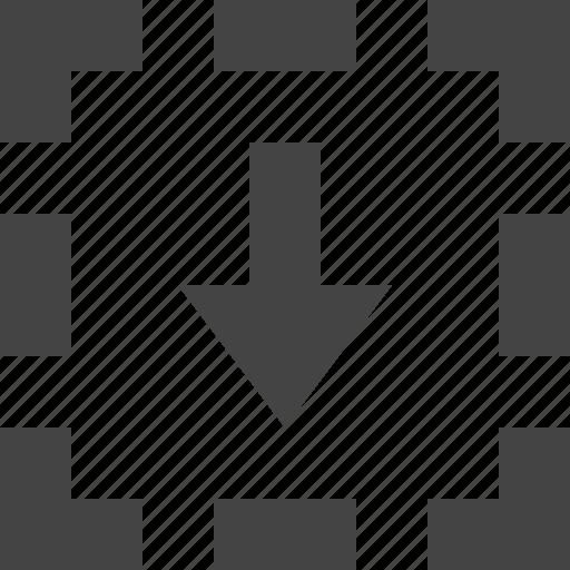 arrow, dashed, down, path icon