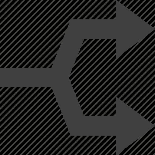 arrow, path, split icon