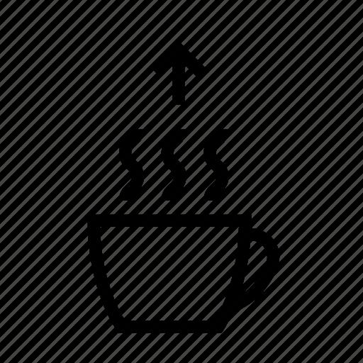 coffee, evaporation, exhalation, hot, hot tea, tea, vaporization icon