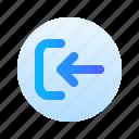 arrow, login, direction, circle, round, left, gradient