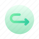 arrow, arched, right, direction, circle, gradient