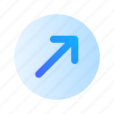 arrow, up, right, direction, circle, gradient
