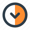 arrow, chevron, circle, direction, down, download, shape
