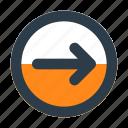 arrow, chevron, circle, direction, next, right, shape