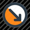 arrow, bottom, chevron, circle, direction, right, shape
