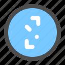 arrow, circle, diagonal, direction, navigation, ui