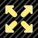arrow, direction, expand, maximize, navigation, sign, web