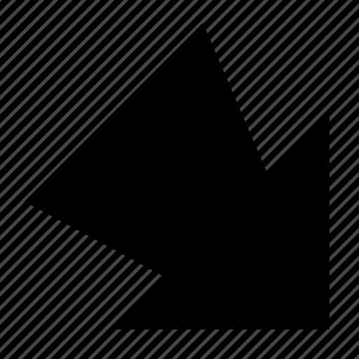 arrow, bottom right, solid, ui, ux icon