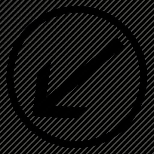 arrow, bottom, circle, left, pointer icon
