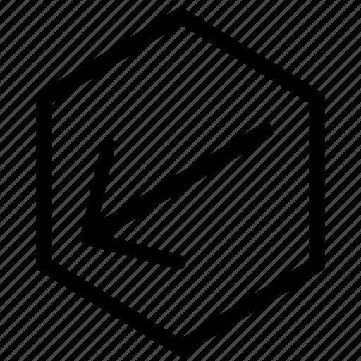 arrow, bottom, hex, left icon