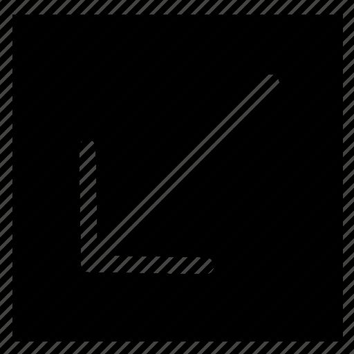 arrow, bottom, fill, left, rectangle icon