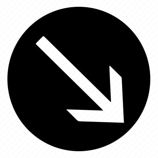 arrow, bottom, circle, fill, right icon