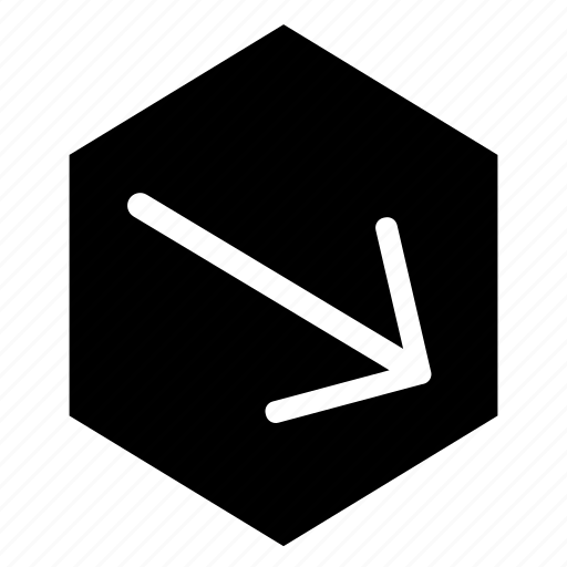 arrow, bottom, fill, hex, right icon