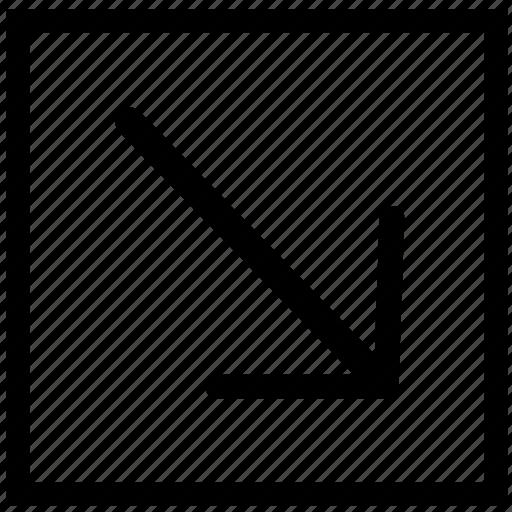 arrow, bottom, rectangle, right icon