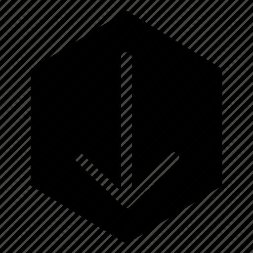 arrow, down, download, fill, hex icon