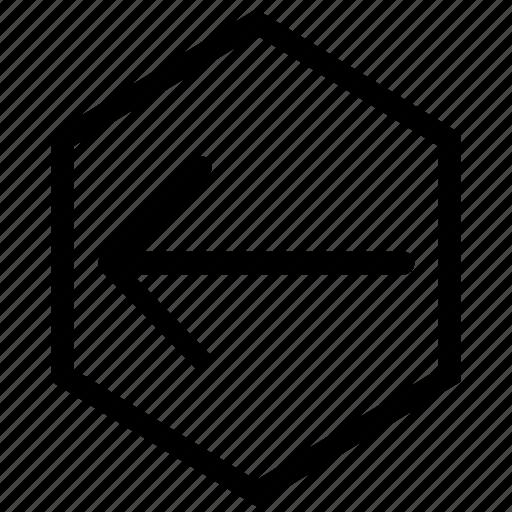 arrow, hex, left icon