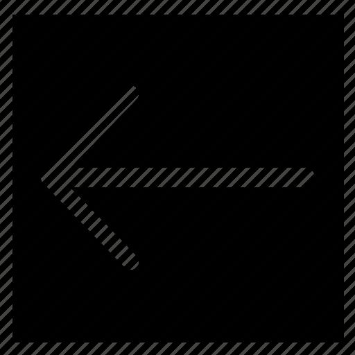 arrow, fill, left, rectangle icon